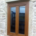 Ventana pvc color madera roble dorado
